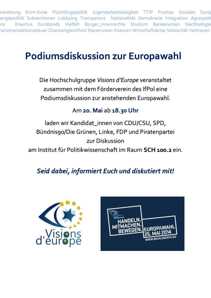 Plakat Podiumsdiskussion Europawahlen